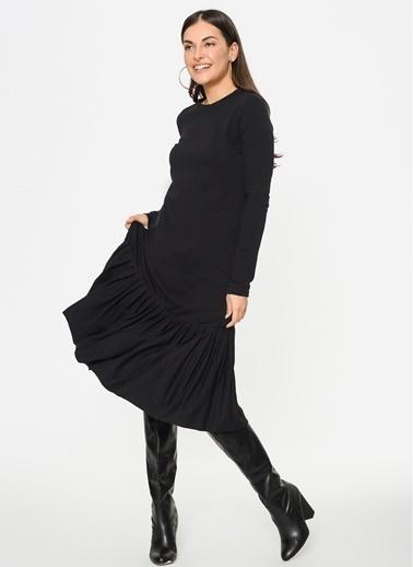 Loves You Eteği Piliseli Uzun Kol Sweat Elbise Siyah